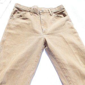 Men's Wrangler Tan Denim Work Jeans W34 L32